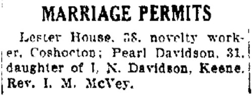 Marriage Permit of Lester House and Pearl Davidson