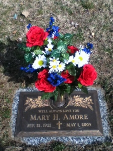 mom's grave with flowers 2013