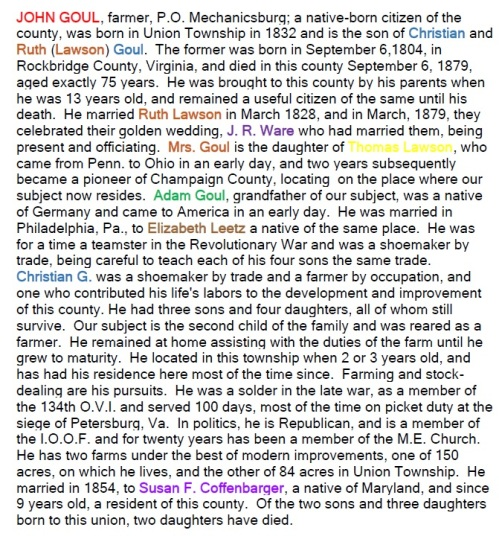 John Goul Biography names highlighted