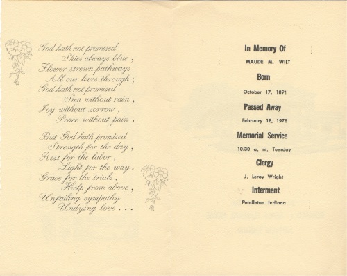 maude wilt memorial card inside