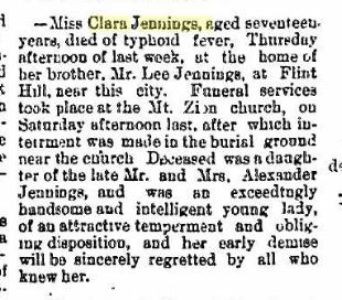 Clara Jennings obit - Democratic Standard Coshocton Ohio Sep 15 1893 pg 6