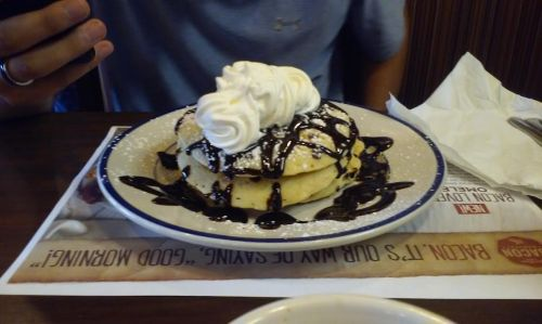 coshocton-11-july-2016-christophers-meal-at-bob-evans-double-chocolate-hotcakes